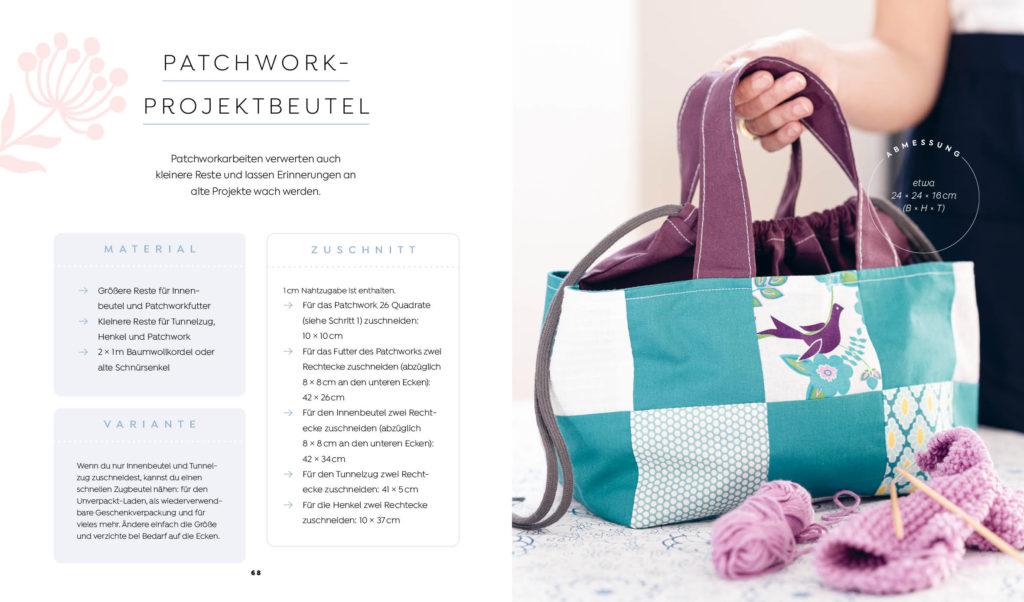 Buch: Einfach nachhaltig nähen – Projekt Patchwork-Projektbeutel aus kleinen Lieblingsresten