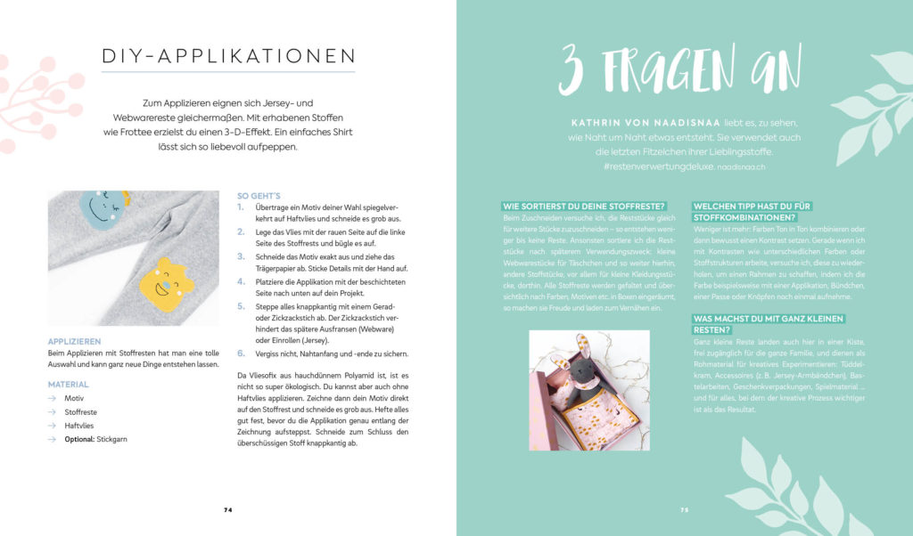 Buch: Einfach nachhaltig nähen – DIY-Applikationen Tutorial und Interview mit Kathrin von naadisnaa.ch zum Thema Resteverwertung